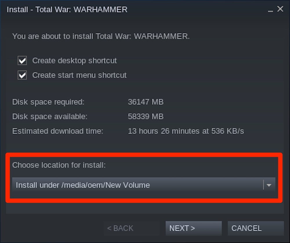 Relocate Steam Installation and Game Files