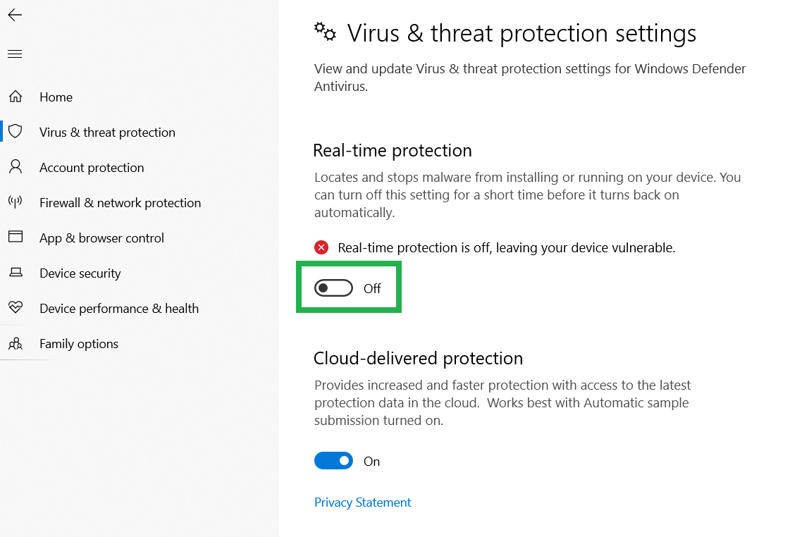 temporarily disable your antivirus