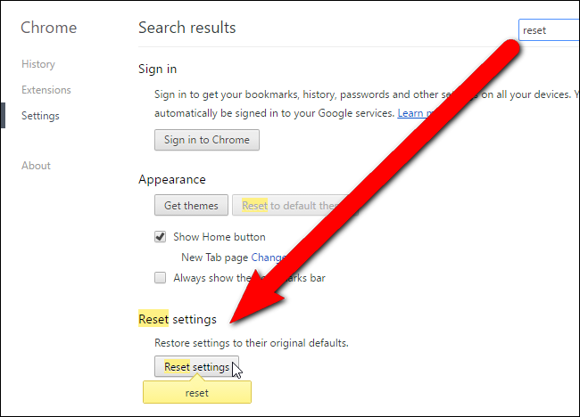 Reset the Default Browser Options